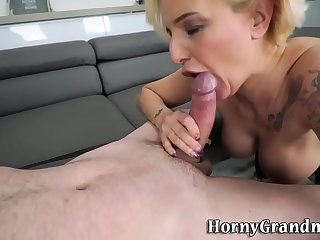 Tattooed granny gets pounded and gobbles