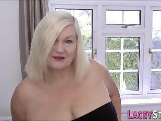 Grandmother in high heels gobbles cock
