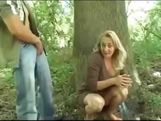 Breasted Granny Fucked in the Wood by Young Guy