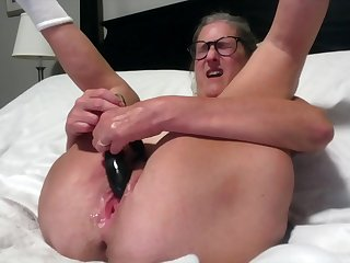 Beautiful Mature Silversquirter Toys Her Dripping Pussy With Legs Spread Wide