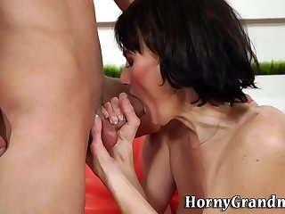 Pussy licked granny gobbles big dick