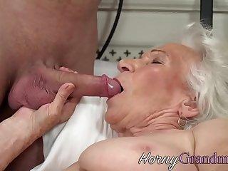 Busty grandma jizzed on