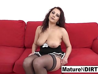 Mature teases the camera before getting an interracial anal fuck