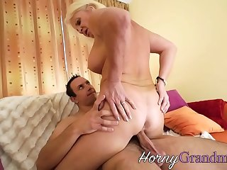 Granny gives head and rides dick