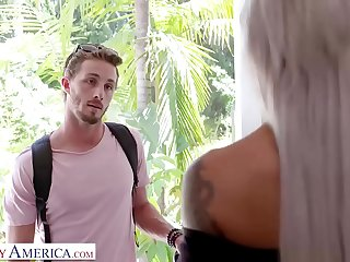 Naughty America Nicole McKenna (Nina Elle) fucks her son'_s big cocked friend