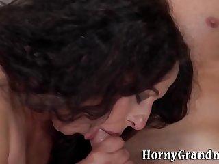 Chubby grandmother sucks cock