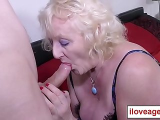 Grandmother Claire Knight has 70 years of sexual experience! Now it is time for this old woman to show a young guy her skills in cock sucking and fucking!