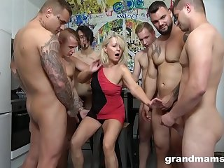 First Ever Grandma GangBang! Cum Everywhere!