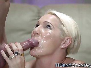 Mature blonde facialized