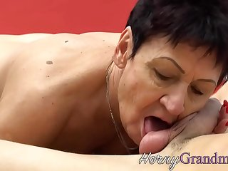 Granny slut riding studs dick