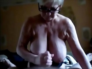 Handjob huge breast granny and cum on tits
