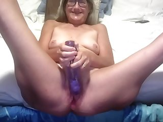 Gorgeous Mature Silversquirter Spreads Her Bound Legs Wide And Plays With A Large Dildo
