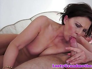 Chubby granny gets hairy pussy fucked deeply