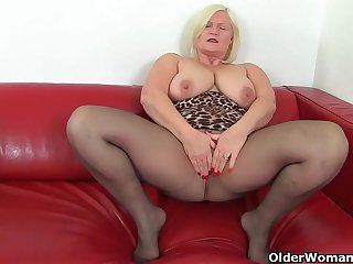 English milf Christina X puts purple dildo to work