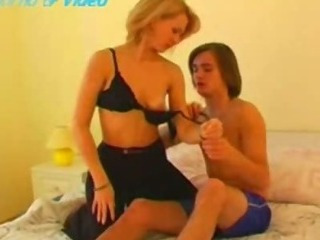 Hot blondie mom fucked with his son