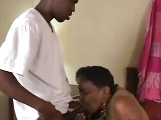 Ebony Old Grandma Helping Me
