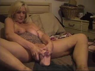 Old Slut Stuffs Enormous Dildo In Cunt