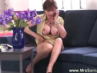 Classy wife masturbates with voyeur hiding