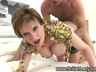 Mature stocking brit Lady Sonia fuck and facial
