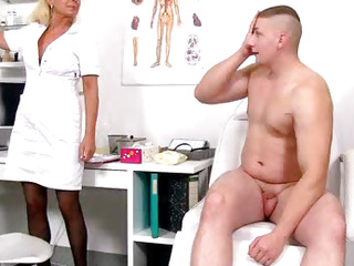 Old with young handjob by lady doctor Koko