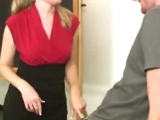 Naughty mature teacher gives handjobs