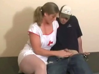 Busty slut gives a handjob