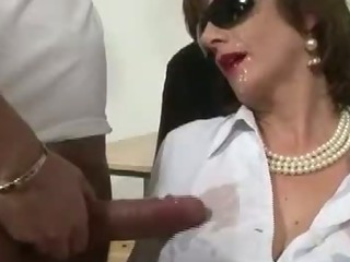 Mature stocking slut interracial cumshot facial