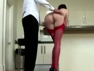 Mature lady in stockings ready for cock