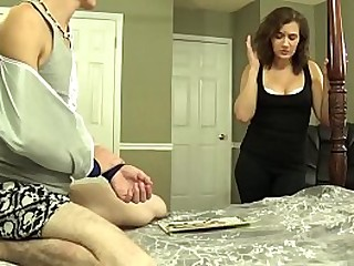 Fifi Foxx gives son a handjob