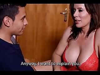 Dorky guy shags high class woman in stockings