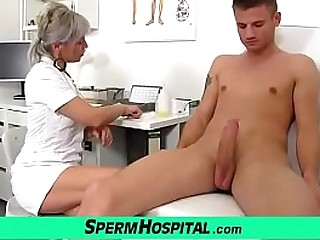 Mature dirty lady doctor Beate giving a handjob