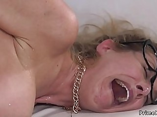 Granny takes cock in the ass in BDSM session
