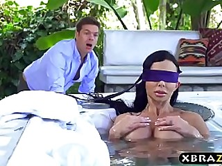 Blindfolded MILF wife with huge tits thought it was her husband fucking her