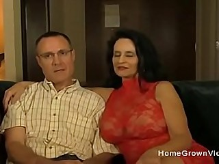 Mature wife with huge tits gets fucked by a y. man in front of her husband