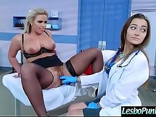 Busty lesbian MILF having fun by the doctor
