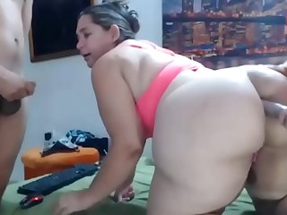 My chubby mom Joins a Webcam Crazy threesome