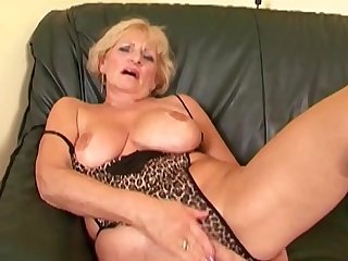 Grandma Puts On Her Sexiest Lingerie &_ Drains Two Young Cocks